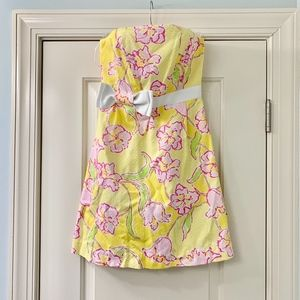 Lilly Pulitzer Yellow Floral Bow Strapless Dress 2